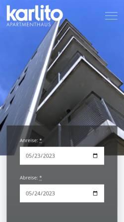 Vorschau der mobilen Webseite www.karlito-apartments.de, Karlito Apartmenthaus