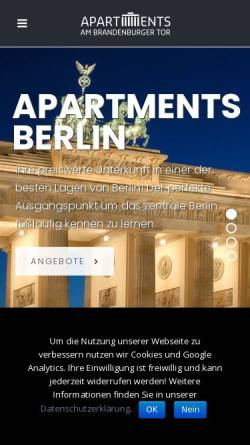 Vorschau der mobilen Webseite www.apartments-mitte.de, Ferienwohnungen Berlin