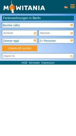 Vorschau der mobilen Webseite www.ferienwohnung-zimmer-berlin.de, Vermíttlung von Ferienwohnungen und Zimmern