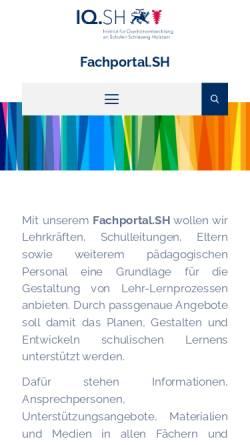 Vorschau der mobilen Webseite faecher.lernnetz.de, Fächerportal Dänisch des Institut für Qualitätssicherung an Schulen Schleswig-Holstein