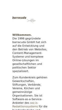 Vorschau der mobilen Webseite www.barracuda.de, Barracuda Digitale Agentur GmbH