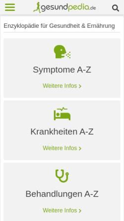 Vorschau der mobilen Webseite gesundpedia.de, Gesundpedia