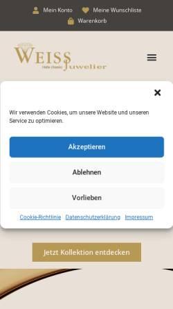 Vorschau der mobilen Webseite www.uhren-weiss.de, Weiss - Juwelier Uhren Schmuck GmbH