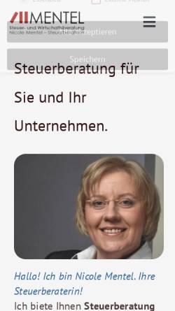 Vorschau der mobilen Webseite www.steuerimgriff.de, MENTEL Steuer- und Wirtschaftsberatung - Nicole Mentel