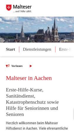 Vorschau der mobilen Webseite www.malteser-aachen.de, Malteser Hilfsdienst in Aachen