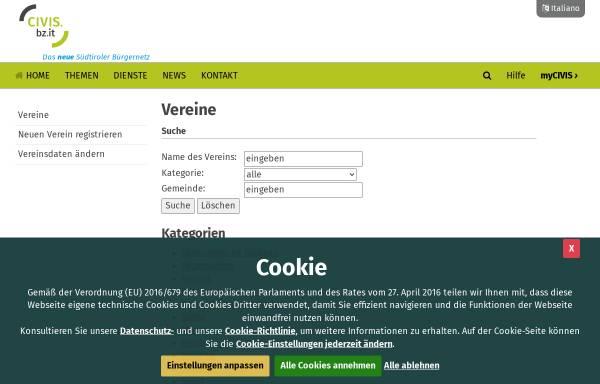 Vorschau von www.provinz.bz.it, Vereine in Südtiroler Bürgernetz