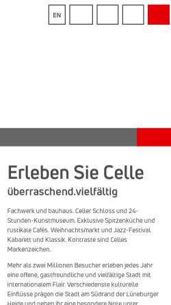Vorschau der mobilen Webseite www.celle-tourismus.de, Tourismus- und Stadtmarketing Celle GmbH
