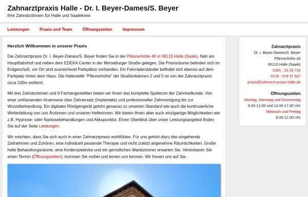 Vorschau von www.zahnarzt-praxis-halle.de, Zahnarztpraxis Dr. I. Beyer-Dames/ ZÄ S. Beyer