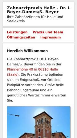 Vorschau der mobilen Webseite www.zahnarzt-praxis-halle.de, Zahnarztpraxis Dr. I. Beyer-Dames/ ZÄ S. Beyer