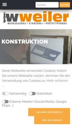 Vorschau der mobilen Webseite www.jjweiler.de, J.J. Weiler - Werkzeug- & Vorrichtungsbau und Stanzerei