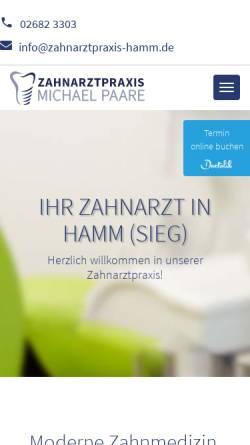 Vorschau der mobilen Webseite www.zahnarztpraxis-hamm.de, Zahnarztpraxis Michael Paare
