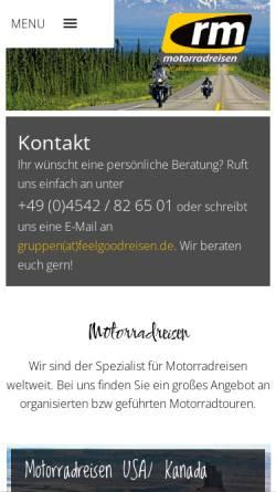 Vorschau der mobilen Webseite www.rm-motorradreisen.de, Rm-reiseteam GmbH