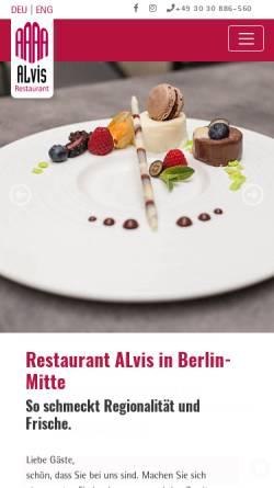 Vorschau der mobilen Webseite www.alvis-restaurant.de, Alvis