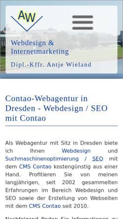 Vorschau der mobilen Webseite www.wieland-webdesign.de, Webdesign & Internetmarketing Antje Wieland