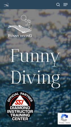 Vorschau der mobilen Webseite www.funnydiving.ch, Funny Diving GmbH