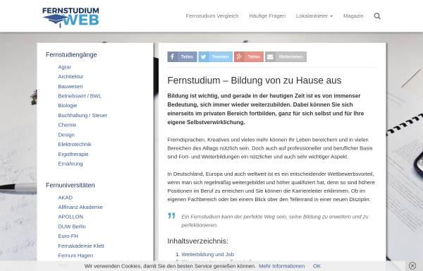 Vorschau von www.fernstudiumweb.de, Fernstudium Web