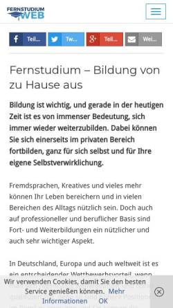 Vorschau der mobilen Webseite www.fernstudiumweb.de, Fernstudium Web