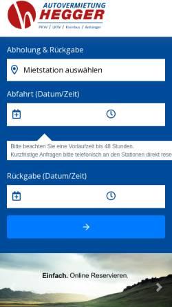 Vorschau der mobilen Webseite www.hegger.info, Autovermietung Hegger