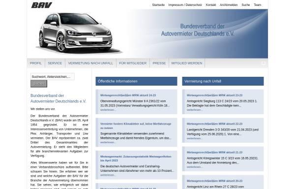 Vorschau von www.bav.de, Bundesverband der Autovermieter Deutschlands e. V.