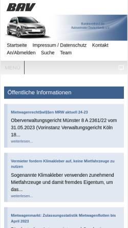 Vorschau der mobilen Webseite www.bav.de, Bundesverband der Autovermieter Deutschlands e. V.