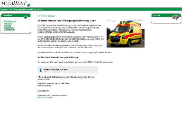 Vorschau von www.medirent-deutschland.de, MediRent Kranken- und Rettungswagenvermietung GmbH