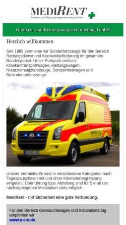 Vorschau der mobilen Webseite www.medirent-deutschland.de, MediRent Kranken- und Rettungswagenvermietung GmbH
