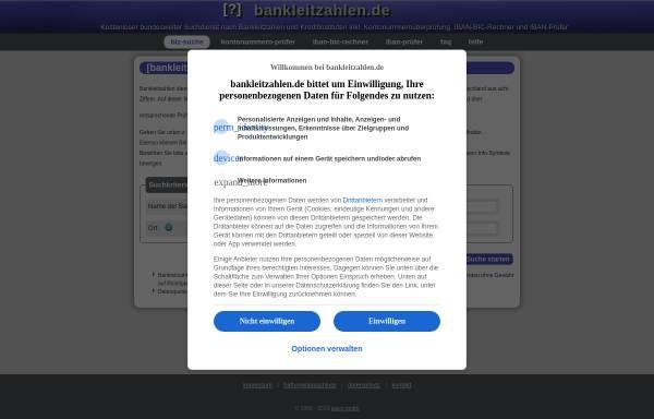 Vorschau von www.bankleitzahlen.de, Bankleitzahlen.de - aiacs GmbH