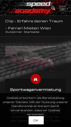 Vorschau der mobilen Webseite speedacademy.at, Speed Academy Vermietungs GmbH