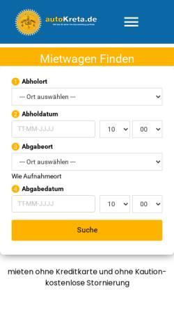 Vorschau der mobilen Webseite www.autokreta.de, Auto Kreta