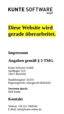Vorschau der mobilen Webseite kunte.software, Kunte Software GmbH