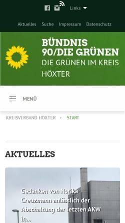 Vorschau der mobilen Webseite www.xn--grne-hxter-jcb1e.de, Bündnis 90/Die Grünen, Kreisverband Höxter