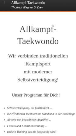 Vorschau der mobilen Webseite www.hosinsul.de, Hosinsul - Taekwondo und Allkampf Augsburg-Lechhausen