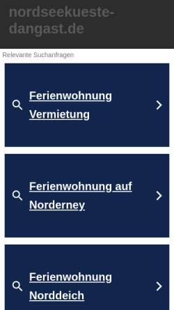Vorschau der mobilen Webseite www.nordseekueste-dangast.de, Ferienwohnungen im Nordseebad Dangast