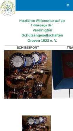 Vorschau der mobilen Webseite www.vereinigte-schuetzen.de, Vereinigte Schützengesellschaften Greven 1923 e.V.