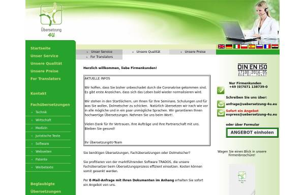 Vorschau von www.uebersetzung-4u.de, Übersetzung 4U GmbH & Co. KG