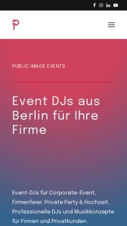 Vorschau der mobilen Webseite www.publicimage-events.de, Public Image Events