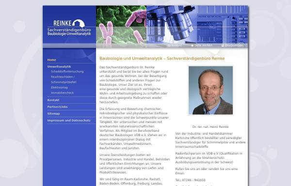 Vorschau von www.svb-reinke.de, Reinke, Heinz Dr. rer nat. - Sachverständigenbüro für Baubiologie und Umweltanalytik