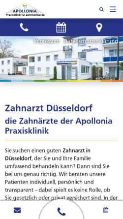 Vorschau der mobilen Webseite www.apollonia-praxisklinik.de, Apollonia Praxisklinik für Zahnheilkunde