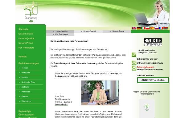 Vorschau von www.uebersetzung-4u.eu, Übersetzung 4U GmbH & Co. KG
