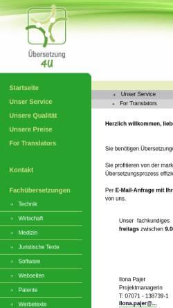 Vorschau der mobilen Webseite www.uebersetzung-4u.eu, Übersetzung 4U GmbH & Co. KG