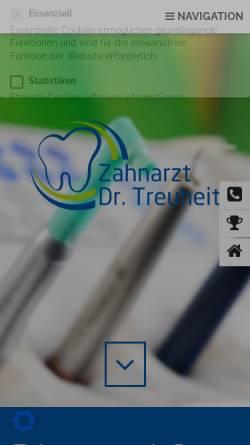 Vorschau der mobilen Webseite zahnarzt-treuheit.de, Dr. med. dent. Klaus-Dieter Treuheit