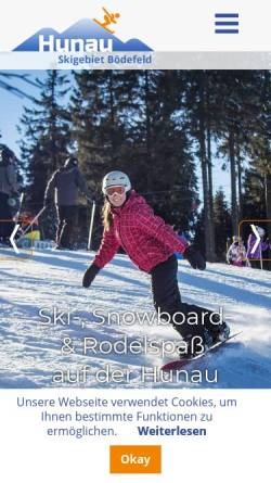 Vorschau der mobilen Webseite www.hunaulift.de, Skigebiet Bödefeld - Hunau