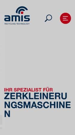Vorschau der mobilen Webseite www.amis.de, AMIS Maschinen Vertriebs GmbH