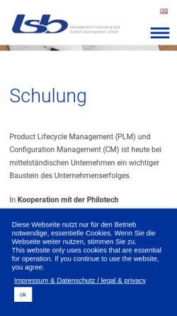 Vorschau der mobilen Webseite www.plm-schulungen.de, usb Unternehmensberatung und Systementwicklung GmbH