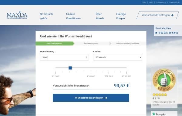 Vorschau von www.maxda.de, Maxda Darlehensvermittlung GmbH