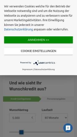 Vorschau der mobilen Webseite www.maxda.de, Maxda Darlehensvermittlung GmbH