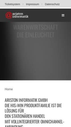 Vorschau der mobilen Webseite www.aristoninformatik.de, Ariston Informatik GmbH
