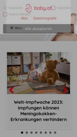 Vorschau der mobilen Webseite www.baby.at, Baby, Kind und Eltern