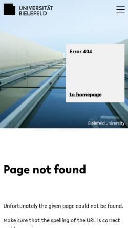 Vorschau der mobilen Webseite www.uni-bielefeld.de, Arbeitsbereich Texttechnologie