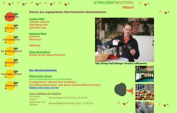 Vorschau von www.mosterei-altbach.de, Streuobstmosterei, Brennerei - Dipl. Biologe Ralf Hilzinger